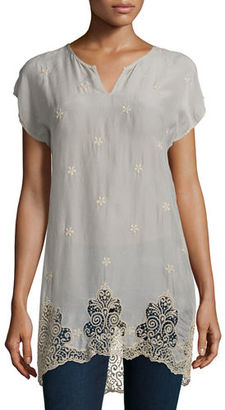 Johnny Was Seal Short-Sleeve Long Lace-Hem Tunic, Plus Size $240 thestylecure.com