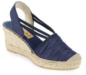 Vidorreta Sherri Chambray Platform Wedge Espadrille Sandals $149 thestylecure.com