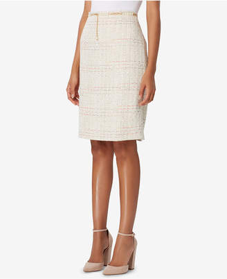 Tahari ASL Belted Boucle Straight Skirt