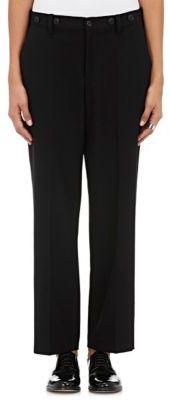 Yohji Yamamoto Women's Button-Trimmed Wool Gabardine Slim Trousers-BLACK $1,030 thestylecure.com