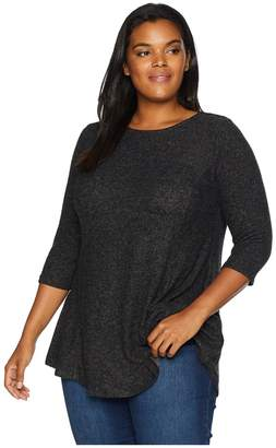 Bobeau B Collection by Plus Size Brushed Babydoll Hemline Knit Women's Sweater