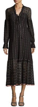 Nanette Lepore Long-Sleeve Embroidered Tie-Front Midi Dress, Black/Pearl $498 thestylecure.com