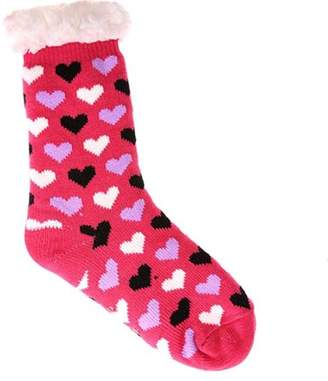 Generic Women's Fleece Lining Fuzzy Soft Knee High Heart Pattern Slipper Sock