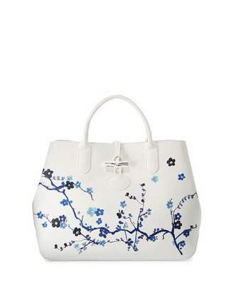 Longchamp Roseau Sakura Floral Medium Tote Bag $695 thestylecure.com
