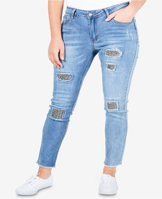 NY Collection Plus Size Distressed Skinny Jeans