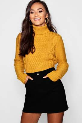boohoo Petite Roll Neck Cable Knit Crop Jumper