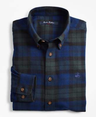 Brooks Brothers Boys Black Watch Plaid Flannel Sport Shirt