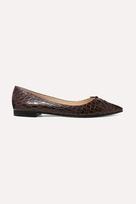 Prada Croc-effect Leather Ballet Flats - Brown