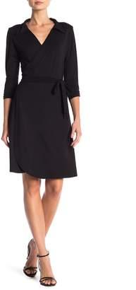 24/7 Comfort Collared V-Neck 3/4 Sleeve Wrap Dress