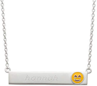 FINE JEWELRY Personalized Sterling Silver Smiling Emoji Name Necklace