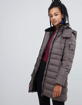 Esprit longline padded jacket with hood in taupe