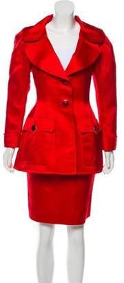 Saint Laurent Satin Skirt Suit Set