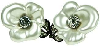 Kenneth Jay Lane Ized Flower With Leaf -Clip Earring