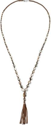 Chan Luu Sterling Silver, Semi-precious Stone, Cord And Leather Tasseled Necklace