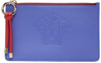 Versace Blue and Red Day Dreamer Medusa Zip Pouch
