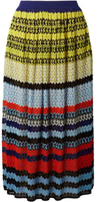 Missoni Striped Crochet-knit Midi Skirt - Blue