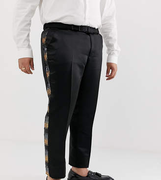 Asos Edition EDITION Plus skinny suit pants in grey and gold sequins