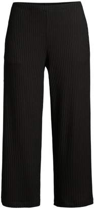 Eileen Fisher Rib-Knit Cropped Straight-Leg Pants