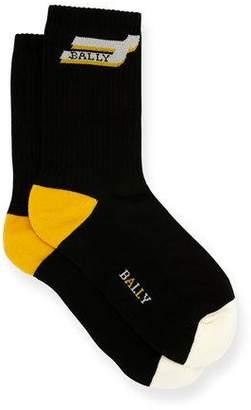 Bally Men's Logo-Pattern Tube Socks, Black/White
