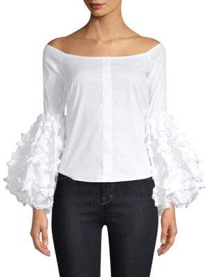 Caroline Constas Gisele Off-The-Shoulder Bell-Sleeve Top