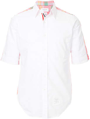 Thom Browne Bicolor Classic Point Collar Button Down Shirt With Grosgrain Placket In Large Madras Check Poplin