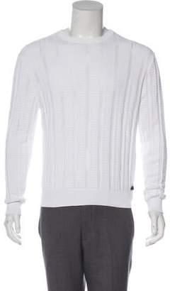 Versace Open Knit Crew Neck Sweater