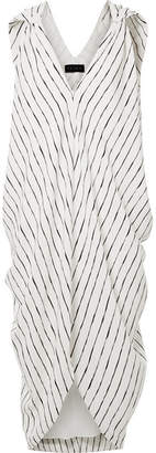 Hatch Amira Draped Striped Crepe De Chine Dress - Ivory