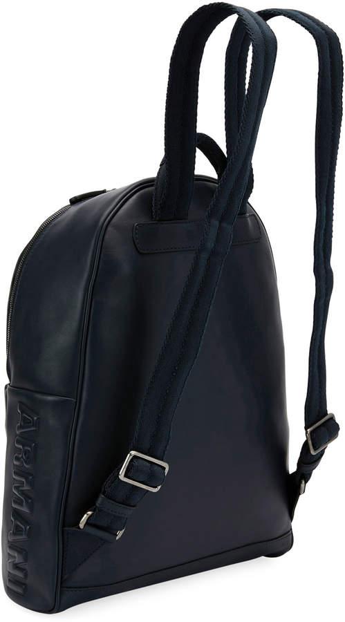Giorgio Armani Leather Backpack, Blue