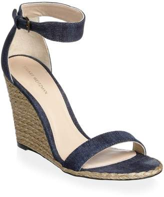 Stuart Weitzman Back Up Denim Espadrille Wedge Sandals
