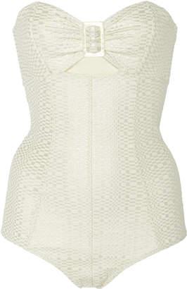 Lisa Marie Fernandez Buckle Cutout Metallic Seersucker Swimsuit Size: