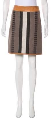 Belstaff Leather-Trimmed Knee-Length Skirt