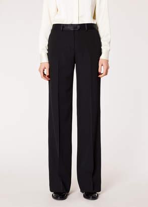 Paul Smith Women's Black Parallel Leg Tuxedo Wool Trousers With Satin Details