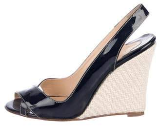 Christian Louboutin Patent Leather Wedge Sandals Navy Patent Leather Wedge Sandals