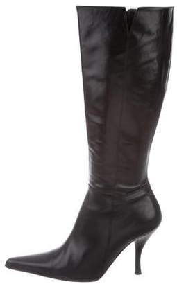 Barneys New York Barney's New York Leather Pointed-Toe Mid-Calf Boots