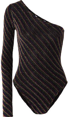 Pushbutton - One-shoulder Striped Lurex Bodysuit - Black