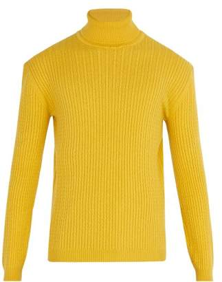 Gucci Cable Knit Cashmere Roll Neck Sweater - Mens - Yellow