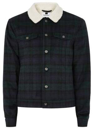 Topman Mens Black Watch Borg Collar Western Jacket
