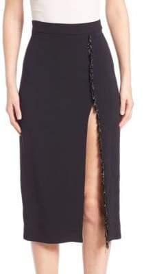 Cushnie et Ochs Knee-Length Skirt with Fringed Trim