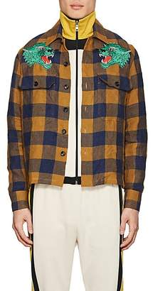 Gucci Men's Panther-Patch Gingham Linen Shirt - Yellow