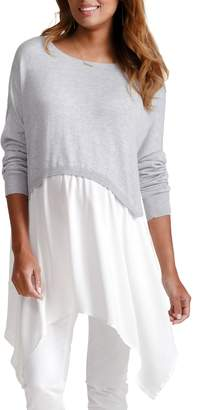 Ingrid & Isabel R) Drapey Swing Mixed Media Maternity/Nursing Sweater