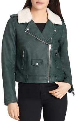 Levi's Sherpa-Trimmed Faux-Leather Moto Jacket