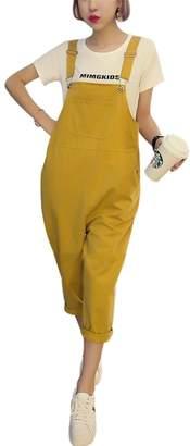 2c5f6db312c Yeokou Women s Loose Baggy Cotton Wide Leg Jumpsuit Rompers Overalls Harem  Pants
