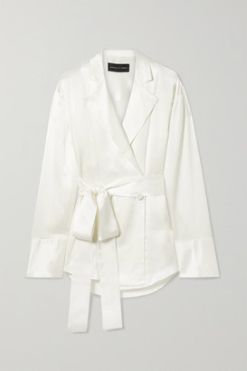 Michael Lo Sordo Belted Double-breasted Silk-satin Shirt - Ivory