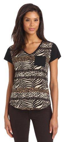 Chaus Women's Short Sleeve Patchwork Animal Combo Print Top