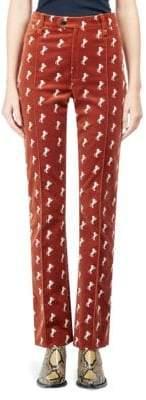 Chloé Velvet Horse Embroidered Pants