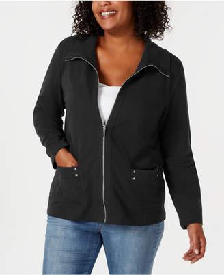 Karen Scott Plus Size Zip-Front Casual Knit Jacket