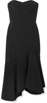 Halston Strapless Crepe Midi Dress - Black