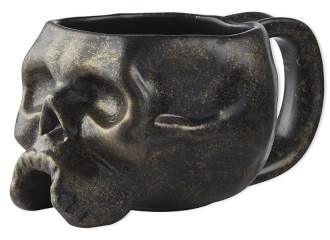 Williams Sonoma Halloween Skull Mugs, Brushed Gold