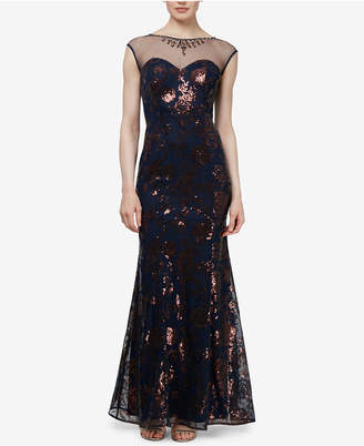 Sl Fashions Sequined Illusion Gown