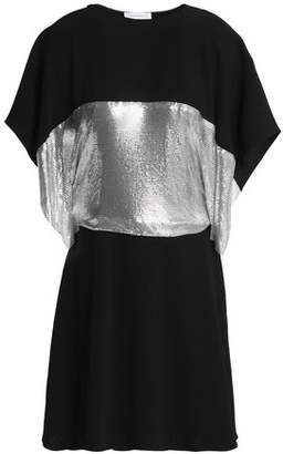 J.W.Anderson Cape-Effect Metallic-Paneled Cutout Crepe Mini Dress